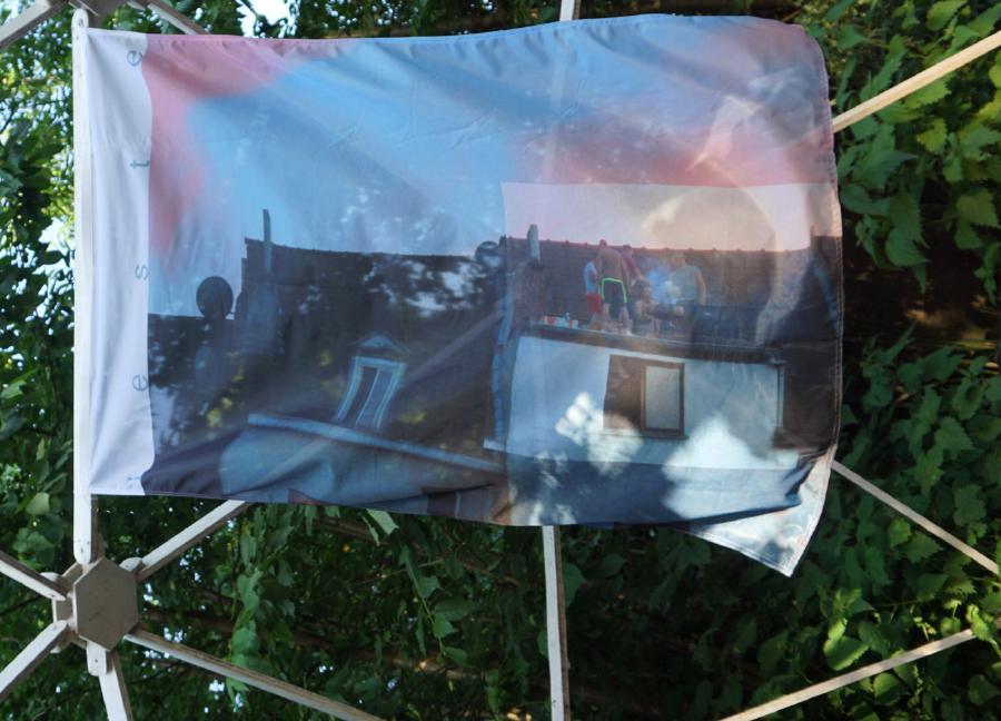Leste, 2018, Flag, 150 x 100 cm, In the framework of Across the Border, a collaborative project initiated by Filippo Minelli., Palazzo Ajutamicristo, Manifesta 12, Palermo - Marine Kaiser, Filippo Minelli